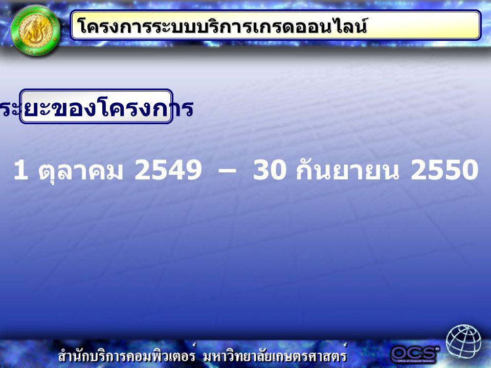 ระยะของโครงการ 1 ตุลาคม 2549 – 30 กันยายน 2550 โครงการระบบบริการเกรดออนไลน์