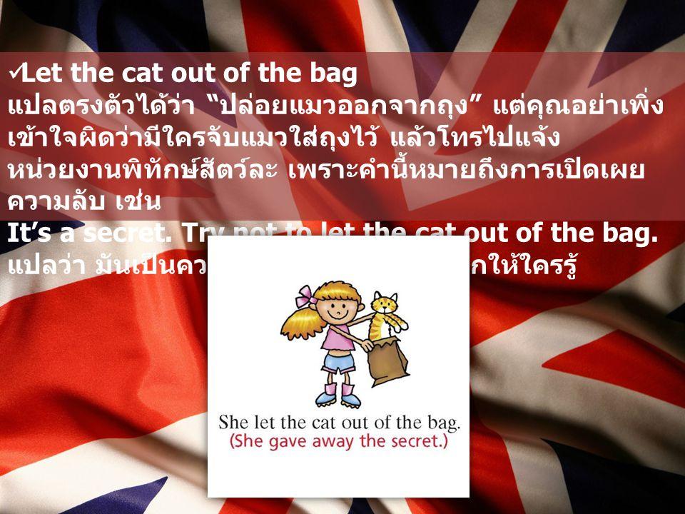 """Let the cat out of the bag แปลตรงตัวได้ว่า """" ปล่อยแมวออกจากถุง """" แต่คุณอย่าเพิ่ง เข้าใจผิดว่ามีใครจับแมวใส่ถุงไว้ แล้วโทรไปแจ้ง หน่วยงานพิทักษ์สัตว์ละ"""