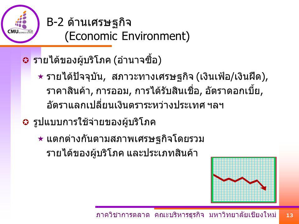 ภาควิชาการตลาด คณะบริหารธุรกิจ มหาวิทยาลัยเชียงใหม่ 13 B-2 ด้านเศรษฐกิจ (Economic Environment)  รายได้ของผู้บริโภค (อำนาจซื้อ)  รายได้ปัจจุบัน, สภาว