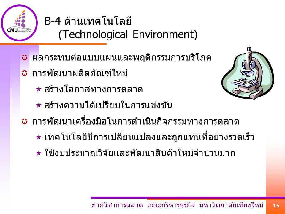 ภาควิชาการตลาด คณะบริหารธุรกิจ มหาวิทยาลัยเชียงใหม่ 15 B-4 ด้านเทคโนโลยี (Technological Environment)  ผลกระทบต่อแบบแผนและพฤติกรรมการบริโภค  การพัฒนา