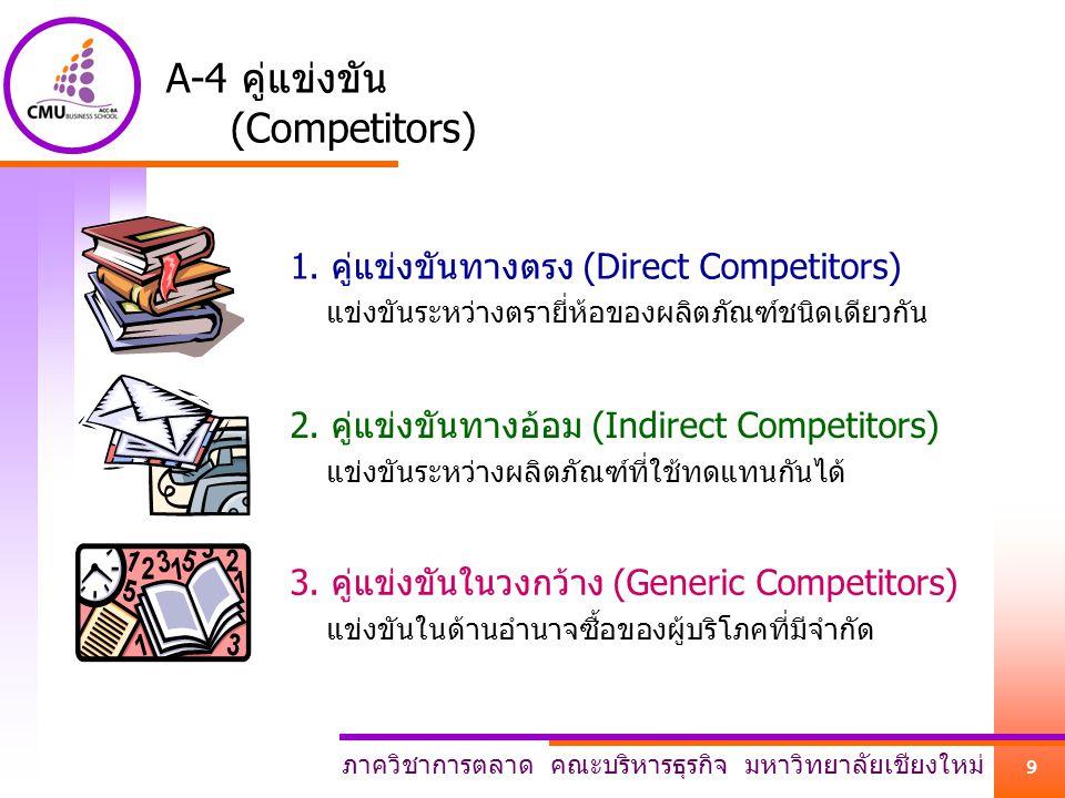 ภาควิชาการตลาด คณะบริหารธุรกิจ มหาวิทยาลัยเชียงใหม่ 9 A-4 คู่แข่งขัน (Competitors) 1. คู่แข่งขันทางตรง (Direct Competitors) แข่งขันระหว่างตรายี่ห้อของ