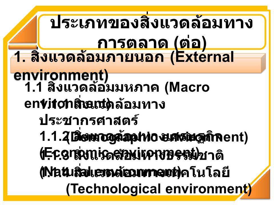 1. สิ่งแวดล้อมภายนอก (External environment) ประเภทของสิ่งแวดล้อมทาง การตลาด ( ต่อ ) 1.1 สิ่งแวดล้อมมหภาค (Macro environment) 1.1.1 สิ่งแวดล้อมทาง ประช