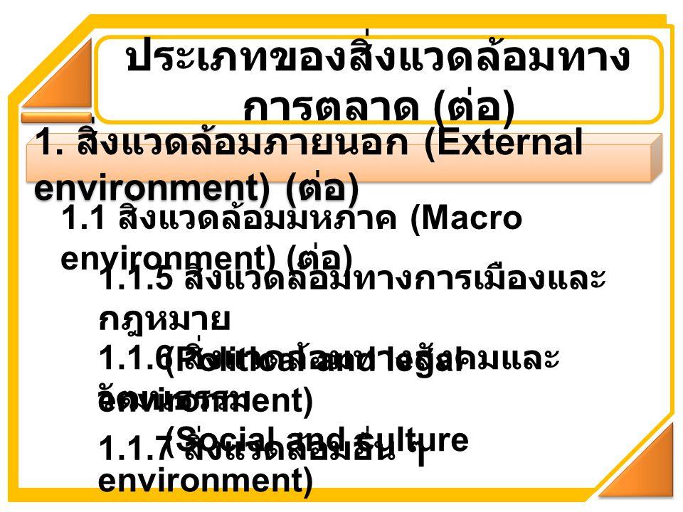 1. สิ่งแวดล้อมภายนอก (External environment) ( ต่อ ) ประเภทของสิ่งแวดล้อมทาง การตลาด ( ต่อ ) 1.1 สิ่งแวดล้อมมหภาค (Macro environment) ( ต่อ ) 1.1.5 สิ่