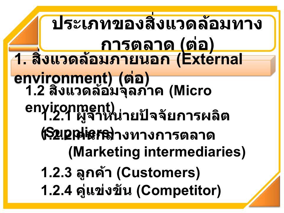 1. สิ่งแวดล้อมภายนอก (External environment) ( ต่อ ) ประเภทของสิ่งแวดล้อมทาง การตลาด ( ต่อ ) 1.2 สิ่งแวดล้อมจุลภาค (Micro environment) 1.2.1 ผู้จำหน่าย