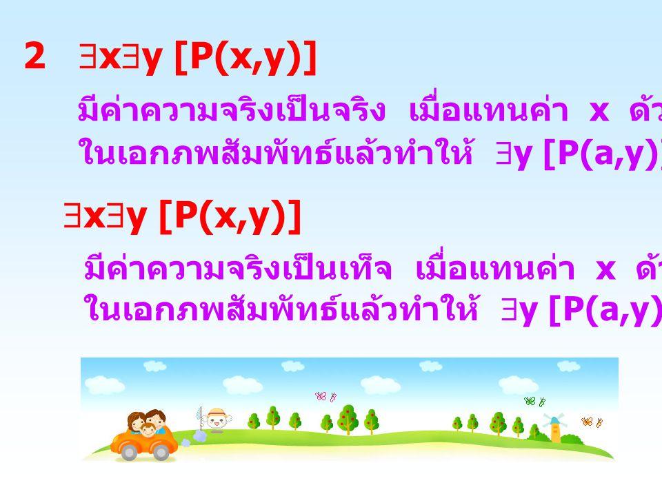 3  x  y [P(x,y)] มีค่าความจริงเป็นจริง เมื่อแทนค่า x ด้วยสมาชิก a ทุกตัว ในเอกภพสัมพัทธ์แล้วทำให้  y [P(a,y)] เป็นจริง  x  y [ P(x,y)] มีค่าความจริงเป็นเท็จ เมื่อแทนค่า x ด้วยสมาชิก a บางตัว ในเอกภพสัมพัทธ์แล้วทำให้  y [P(a,y)] เป็นเท็จ
