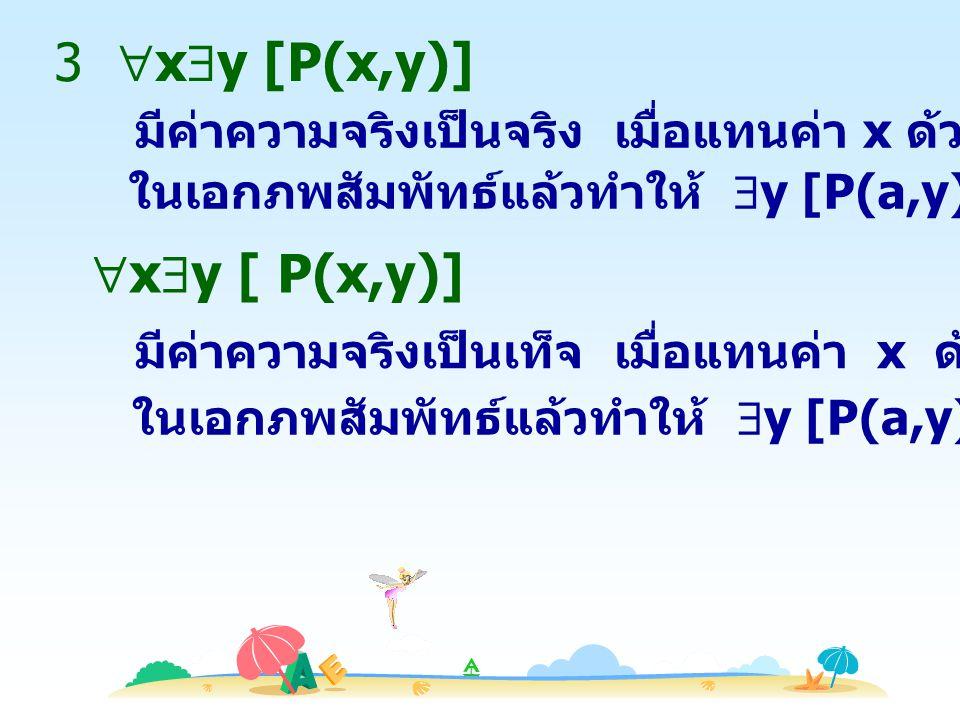 4  x  y [P(x,y)] ในเอกภพสัมพัทธ์แล้วทำให้  y [P(a,y)] เป็นจริง  x  y [P(x,y)] มีค่าความจริงเป็นเท็จ เมื่อแทนค่า x ด้วยสมาชิก a ทุกตัว ในเอกภพสัมพัทธ์แล้วทำให้  y [P(a,y)] เป็นเท็จ มีค่าความจริงเป็นจริง เมื่อแทนค่า x ด้วยสมาชิก a บางตัว