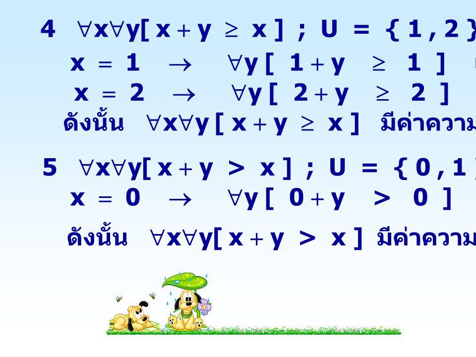 6  x  y[ x 2  y 2  0 ] ; U  R เนื่องจาก x 2  0 สำหรับทุก x  R และ y 2  0 สำหรับทุก y  R x 2  y 2  0 สำหรับทุก x, y  R ดังนั้น  x  y[ x 2  y 2  0 ] มีค่าความจริงเป็นจริง