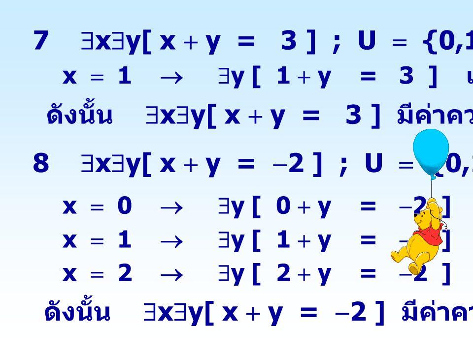 9  x  y[ x  y = y  x ] ; U  {-1,0,1} x  0   y [ 0  y = y  0 ] เป็นจริง ดังนั้น  x  y[ x  y = y  x ] มีค่าความจริงเป็นจริง 10  x  y[ x  y   2 ] ; U  {-1,0} x   1   y [  1  y   2 ] เป็นเท็จ x  0   y [ 0  y   2 ] เป็นเท็จ ดังนั้น  x  y[ x  y   2 ] มีค่าความจริงเป็นเท็จ