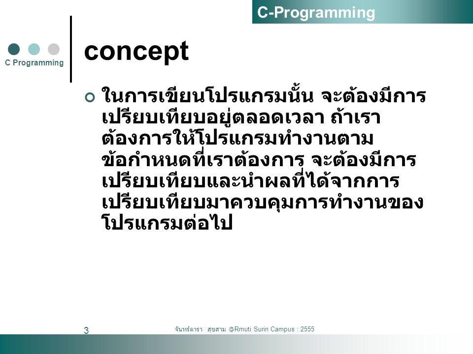 จันทร์ดารา สุขสาม @Rmuti Surin Campus : 2555 3 concept ในการเขียนโปรแกรมนั้น จะต้องมีการ เปรียบเทียบอยู่ตลอดเวลา ถ้าเรา ต้องการให้โปรแกรมทำงานตาม ข้อก