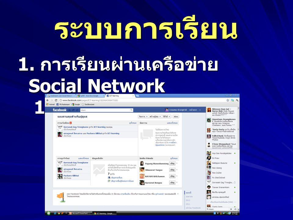 ระบบการเรียน 1. การเรียนผ่านเครือข่าย Social Network 1.2 Facebook.com