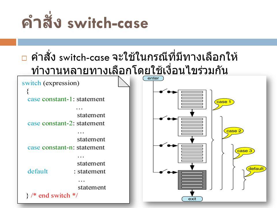 คำสั่ง switch-case  คำสั่ง switch-case จะใช้ในกรณีที่มีทางเลือกให้ ทำงานหลายทางเลือกโดยใช้เงื่อนไขร่วมกัน