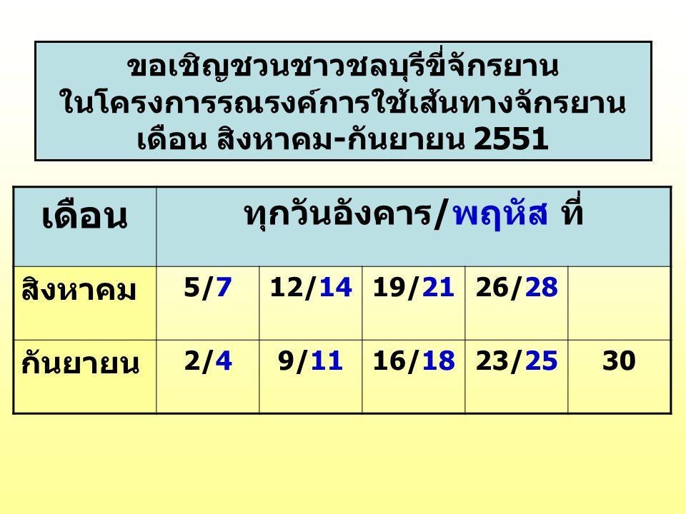ขอเชิญชวนชาวชลบุรีขี่จักรยาน ในโครงการรณรงค์การใช้เส้นทางจักรยาน เดือน สิงหาคม-กันยายน 2551 เดือน ทุกวันอังคาร/พฤหัส ที่ สิงหาคม 5/75/712/1419/2126/28