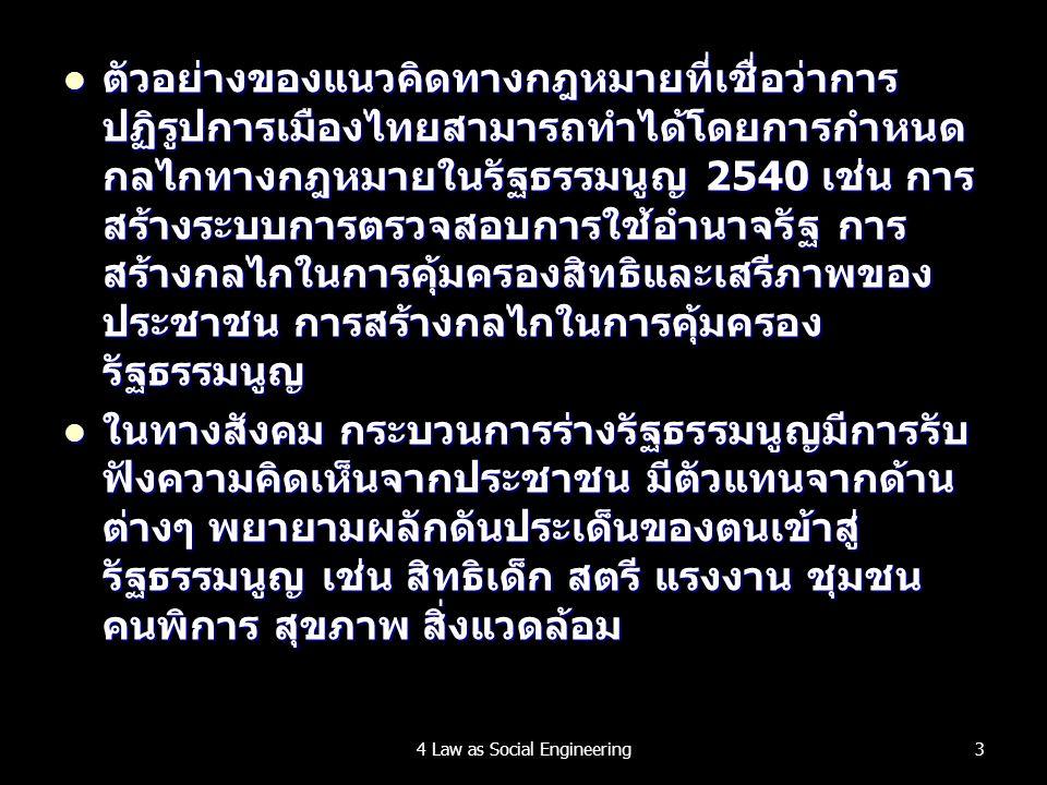 ตัวอย่างของแนวคิดทางกฎหมายที่เชื่อว่าการ ปฏิรูปการเมืองไทยสามารถทำได้โดยการกำหนด กลไกทางกฎหมายในรัฐธรรมนูญ 2540 เช่น การ สร้างระบบการตรวจสอบการใช้อำนาจรัฐ การ สร้างกลไกในการคุ้มครองสิทธิและเสรีภาพของ ประชาชน การสร้างกลไกในการคุ้มครอง รัฐธรรมนูญ ตัวอย่างของแนวคิดทางกฎหมายที่เชื่อว่าการ ปฏิรูปการเมืองไทยสามารถทำได้โดยการกำหนด กลไกทางกฎหมายในรัฐธรรมนูญ 2540 เช่น การ สร้างระบบการตรวจสอบการใช้อำนาจรัฐ การ สร้างกลไกในการคุ้มครองสิทธิและเสรีภาพของ ประชาชน การสร้างกลไกในการคุ้มครอง รัฐธรรมนูญ ในทางสังคม กระบวนการร่างรัฐธรรมนูญมีการรับ ฟังความคิดเห็นจากประชาชน มีตัวแทนจากด้าน ต่างๆ พยายามผลักดันประเด็นของตนเข้าสู่ รัฐธรรมนูญ เช่น สิทธิเด็ก สตรี แรงงาน ชุมชน คนพิการ สุขภาพ สิ่งแวดล้อม ในทางสังคม กระบวนการร่างรัฐธรรมนูญมีการรับ ฟังความคิดเห็นจากประชาชน มีตัวแทนจากด้าน ต่างๆ พยายามผลักดันประเด็นของตนเข้าสู่ รัฐธรรมนูญ เช่น สิทธิเด็ก สตรี แรงงาน ชุมชน คนพิการ สุขภาพ สิ่งแวดล้อม 34 Law as Social Engineering