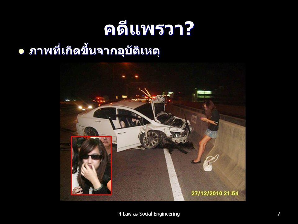คดีแพรวา? ภาพที่เกิดขึ้นจากอุบัติเหตุ ภาพที่เกิดขึ้นจากอุบัติเหตุ 74 Law as Social Engineering