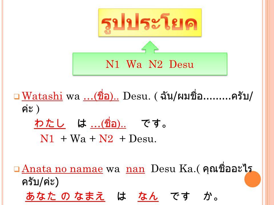  Watashi wa …( ชื่อ ).. Desu. ( ฉัน / ผมชื่อ......... ครับ / ค่ะ ) わたし は …( ชื่อ ).. です。 N1 + Wa + N2 + Desu.  Anata no namae wa nan Desu Ka.( คุณชื