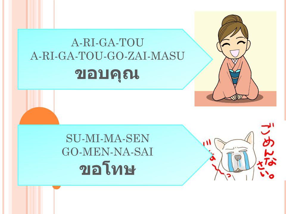  Wa-ta-shi = ฉัน  A-na-ta = คุณ  Desu = เป็น, อยู่, คือ ( ครับ / ค่ะ )  Yo-ro-shi-ku-O-ne-gai-shi-masu = ขอฝากเนื้อฝากตัว  Nen-sei = ชั้นปี  O-na-ma-e = ชื่อ ( คนอื่น เพื่อ ความสุภาพ )  Nan = อะไร  Ka = แสดงคำถาม ( วาง ไว้ท้ายประโยค )  Kara = มาจาก