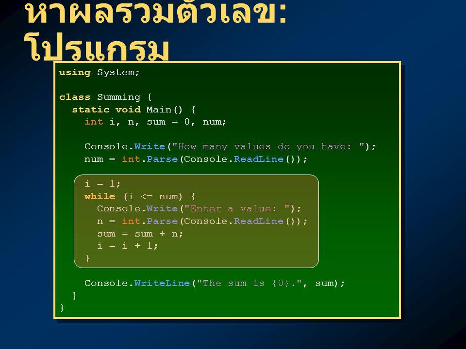 หาผลรวมตัวเลข : โปรแกรม using System; class Summing { static void Main() { int i, n, sum = 0, num; Console.Write( How many values do you have: ); num = int.Parse(Console.ReadLine()); i = 1; while (i <= num) { Console.Write( Enter a value: ); n = int.Parse(Console.ReadLine()); sum = sum + n; i = i + 1; } Console.WriteLine( The sum is {0}. , sum); } using System; class Summing { static void Main() { int i, n, sum = 0, num; Console.Write( How many values do you have: ); num = int.Parse(Console.ReadLine()); i = 1; while (i <= num) { Console.Write( Enter a value: ); n = int.Parse(Console.ReadLine()); sum = sum + n; i = i + 1; } Console.WriteLine( The sum is {0}. , sum); }