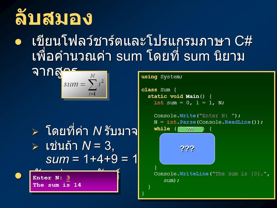 ลับสมอง เขียนโฟลว์ชาร์ตและโปรแกรมภาษา C# เพื่อคำนวณค่า sum โดยที่ sum นิยาม จากสูตร เขียนโฟลว์ชาร์ตและโปรแกรมภาษา C# เพื่อคำนวณค่า sum โดยที่ sum นิยาม จากสูตร  โดยที่ค่า N รับมาจากผู้ใช้  เช่นถ้า N = 3, sum = 1+4+9 = 14 ตัวอย่างผลลัพธ์ ตัวอย่างผลลัพธ์ Enter N: 3 The sum is 14 Enter N: 3 The sum is 14 using System; class Sum { static void Main() { int sum = 0, i = 1, N; Console.Write( Enter N: ); N = int.Parse(Console.ReadLine()); while ( i <= N ) { sum = sum + i*i; i = i+1; } Console.WriteLine( The sum is {0}. , sum); } using System; class Sum { static void Main() { int sum = 0, i = 1, N; Console.Write( Enter N: ); N = int.Parse(Console.ReadLine()); while ( i <= N ) { sum = sum + i*i; i = i+1; } Console.WriteLine( The sum is {0}. , sum); } ??.