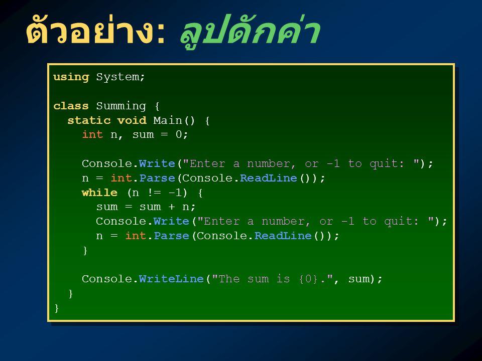 ตัวอย่าง : ลูปดักค่า using System; class Summing { static void Main() { int n, sum = 0; Console.Write( Enter a number, or -1 to quit: ); n = int.Parse(Console.ReadLine()); while (n != -1) { sum = sum + n; Console.Write( Enter a number, or -1 to quit: ); n = int.Parse(Console.ReadLine()); } Console.WriteLine( The sum is {0}. , sum); } using System; class Summing { static void Main() { int n, sum = 0; Console.Write( Enter a number, or -1 to quit: ); n = int.Parse(Console.ReadLine()); while (n != -1) { sum = sum + n; Console.Write( Enter a number, or -1 to quit: ); n = int.Parse(Console.ReadLine()); } Console.WriteLine( The sum is {0}. , sum); }