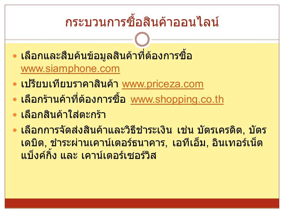 กระบวนการซื้อสินค้าออนไลน์ เลือกและสืบค้นข้อมูลสินค้าที่ต้องการซื้อ www.siamphone.com www.siamphone.com เปรียบเทียบราคาสินค้า www.priceza.comwww.price