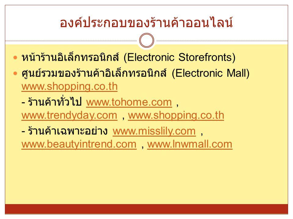 องค์ประกอบของร้านค้าออนไลน์ หน้าร้านอิเล็กทรอนิกส์ (Electronic Storefronts) ศูนย์รวมของร้านค้าอิเล็กทรอนิกส์ (Electronic Mall) www.shopping.co.th www.