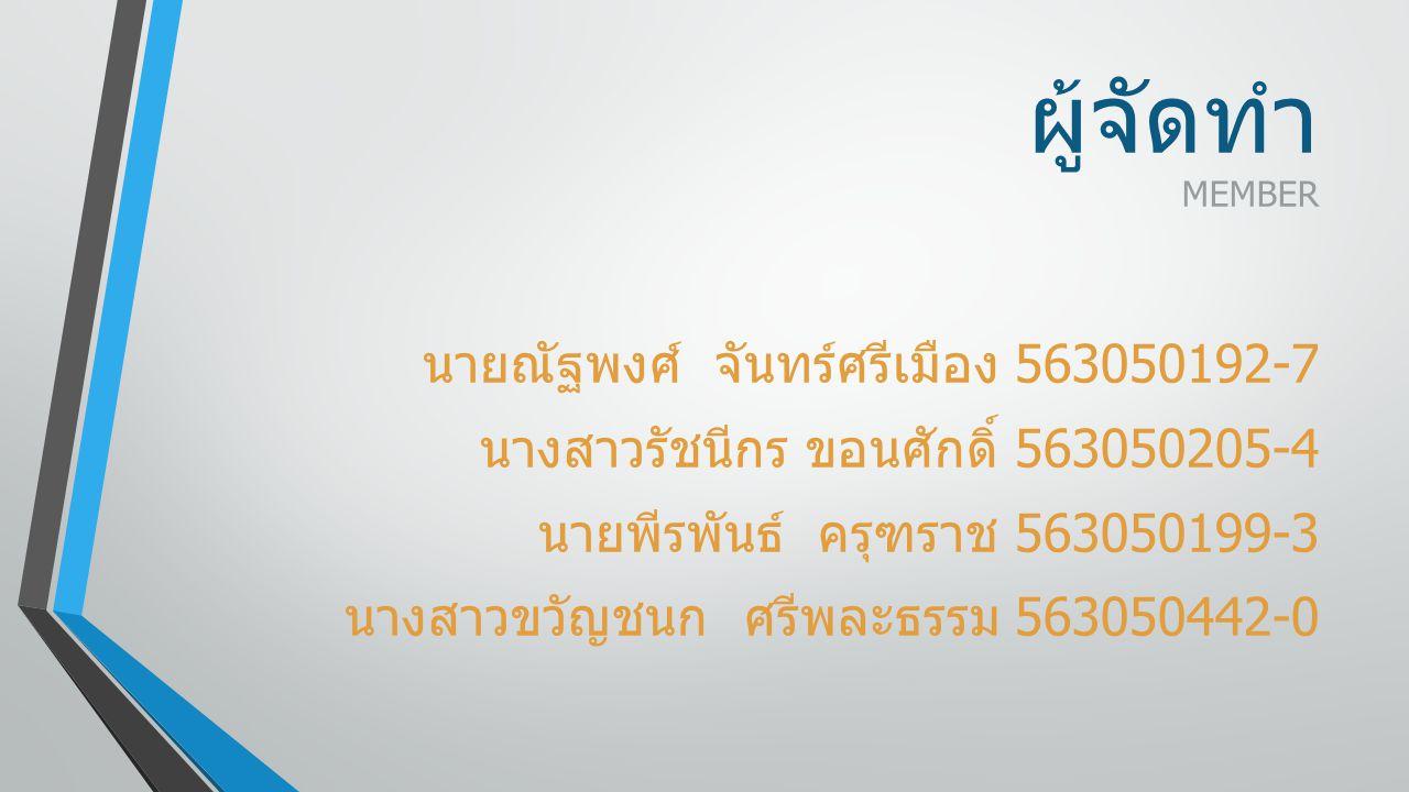ผู้จัดทำ MEMBER นายณัฐพงศ์ จันทร์ศรีเมือง 563050192-7 นางสาวรัชนีกร ขอนศักดิ์ 563050205-4 นายพีรพันธ์ ครุฑราช 563050199-3 นางสาวขวัญชนก ศรีพละธรรม 563050442-0