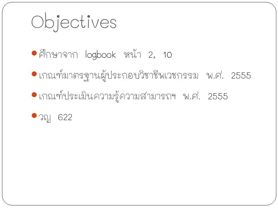 Objectives ศึกษาจาก logbook หน้า 2, 10 เกณฑ์มาตรฐานผู้ประกอบวิชาชีพเวชกรรม พ.ศ. 2555 เกณฑ์ประเมินความรู้ความสามารถฯ พ.ศ. 2555 วญ 622