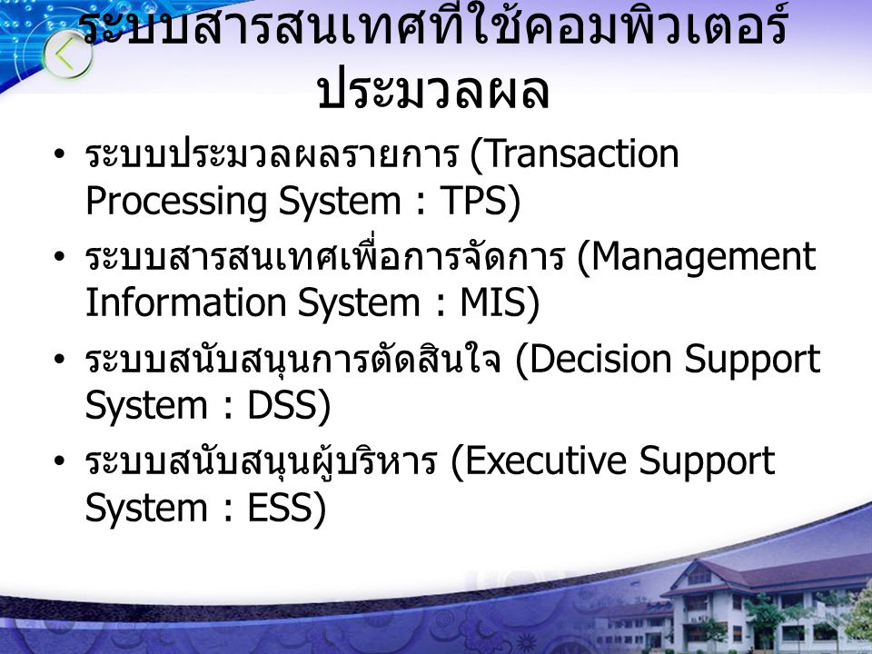 ระบบสารสนเทศที่ใช้คอมพิวเตอร์ ประมวลผล ระบบประมวลผลรายการ (Transaction Processing System : TPS) ระบบสารสนเทศเพื่อการจัดการ (Management Information System : MIS) ระบบสนับสนุนการตัดสินใจ (Decision Support System : DSS) ระบบสนับสนุนผู้บริหาร (Executive Support System : ESS)