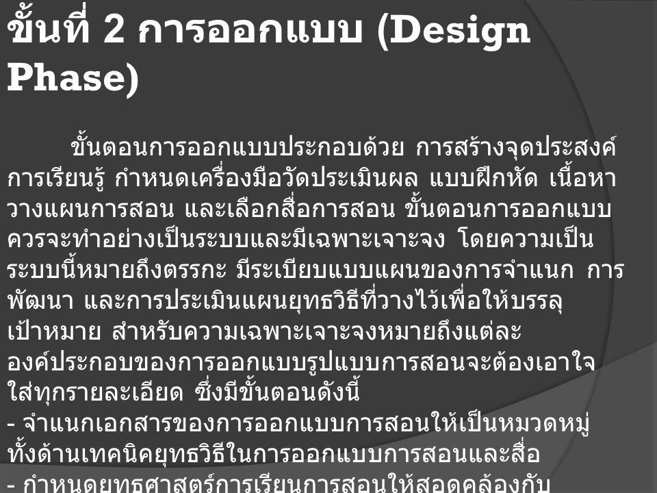 ขั้นที่ 2 การออกแบบ (Design Phase) ขั้นตอนการออกแบบประกอบด้วย การสร้างจุดประสงค์ การเรียนรู้ กำหนดเครื่องมือวัดประเมินผล แบบฝึกหัด เนื้อหา วางแผนการสอน และเลือกสื่อการสอน ขั้นตอนการออกแบบ ควรจะทำอย่างเป็นระบบและมีเฉพาะเจาะจง โดยความเป็น ระบบนี้หมายถึงตรรกะ มีระเบียบแบบแผนของการจำแนก การ พัฒนา และการประเมินแผนยุทธวิธีที่วางไว้เพื่อให้บรรลุ เป้าหมาย สำหรับความเฉพาะเจาะจงหมายถึงแต่ละ องค์ประกอบของการออกแบบรูปแบบการสอนจะต้องเอาใจ ใส่ทุกรายละเอียด ซึ่งมีขั้นตอนดังนี้ - จำแนกเอกสารของการออกแบบการสอนให้เป็นหมวดหมู่ ทั้งด้านเทคนิคยุทธวิธีในการออกแบบการสอนและสื่อ - กำหนดยุทธศาสตร์การเรียนการสอนให้สอดคล้องกับ พฤติกรรมที่คาดหวังในแต่ละกลุ่ม (cognitive, affective, psychomotor) - สร้างสตอรีบอร์ด - ออกแบบ User interface และ User Experiment - สร้างสื่อต้นแบบ