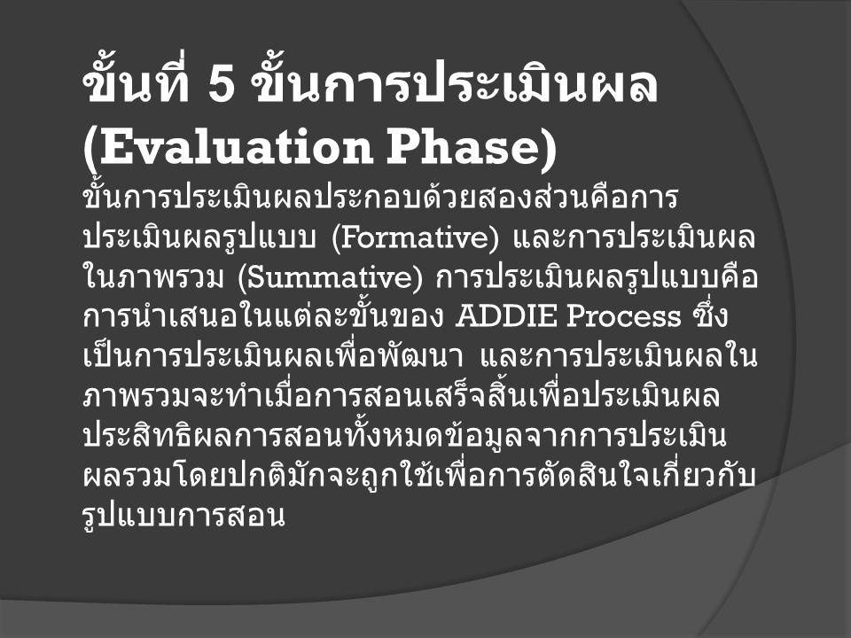 ขั้นที่ 5 ขั้นการประเมินผล (Evaluation Phase) ขั้นการประเมินผลประกอบด้วยสองส่วนคือการ ประเมินผลรูปแบบ (Formative) และการประเมินผล ในภาพรวม (Summative) การประเมินผลรูปแบบคือ การนำเสนอในแต่ละขั้นของ ADDIE Process ซึ่ง เป็นการประเมินผลเพื่อพัฒนา และการประเมินผลใน ภาพรวมจะทำเมื่อการสอนเสร็จสิ้นเพื่อประเมินผล ประสิทธิผลการสอนทั้งหมดข้อมูลจากการประเมิน ผลรวมโดยปกติมักจะถูกใช้เพื่อการตัดสินใจเกี่ยวกับ รูปแบบการสอน