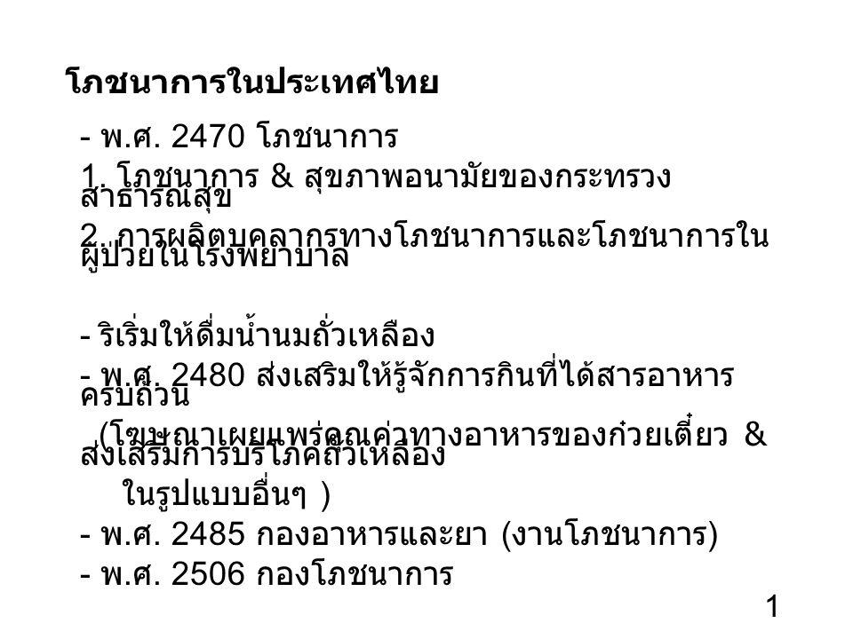 1 โภชนาการในประเทศไทย - พ. ศ. 2470 โภชนาการ 1. โภชนาการ & สุขภาพอนามัยของกระทรวง สาธารณสุข 2.