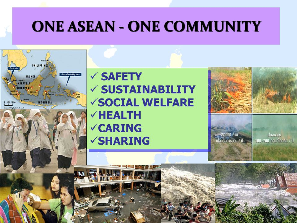 SAFETY SUSTAINABILITY SOCIAL WELFARE HEALTH CARING SHARING SAFETY SUSTAINABILITY SOCIAL WELFARE HEALTH CARING SHARING ONE ASEAN - ONE COMMUNITY