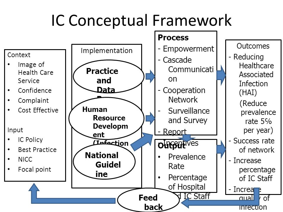 Implementation IC Conceptual Framework Context Image of Health Care Service Confidence Complaint Cost Effective Input IC Policy Best Practice NICC Foc