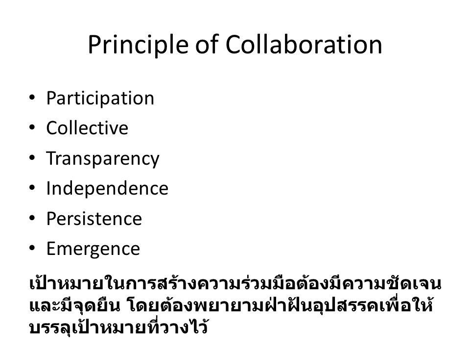 Principle of Collaboration Participation Collective Transparency Independence Persistence Emergence เป้าหมายในการสร้างความร่วมมือต้องมีความชัดเจน และมีจุดยืน โดยต้องพยายามฝ่าฝันอุปสรรคเพื่อให้ บรรลุเป้าหมายที่วางไว้