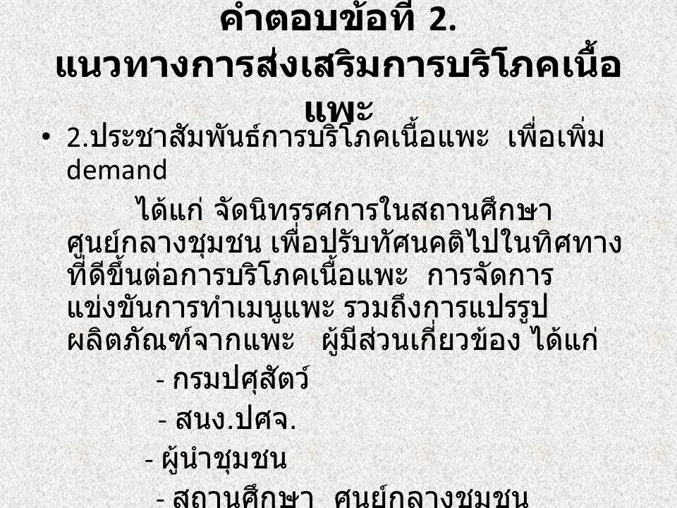 คำตอบข้อที่ 2.แนวทางการส่งเสริมการบริโภคเนื้อ แพะ 3.