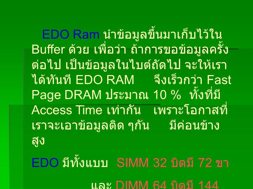 EDO Ram นำข้อมูลขึ้นมาเก็บไว้ใน Buffer ด้วย เพื่อว่า ถ้าการขอข้อมูลครั้ง ต่อไป เป็นข้อมูลในไบต์ถัดไป จะให้เรา ได้ทันที EDO RAM จึงเร็วกว่า Fast Page DRAM ประมาณ 10 % ทั้งที่มี Access Time เท่ากัน เพราะโอกาสที่ เราจะเอาข้อมูลติด ๆกัน มีค่อนข้าง สูง EDO มีทั้งแบบ SIMM 32 บิตมี 72 ขา และ DIMM 64 บิตมี 144 ขา