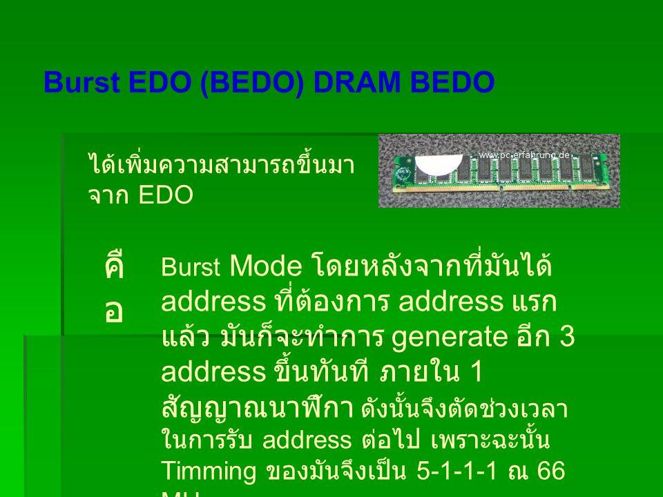 Burst EDO (BEDO) DRAM BEDO ได้เพิ่มความสามารถขึ้นมา จาก EDO คื อ Burst Mode โดยหลังจากที่มันได้ address ที่ต้องการ address แรก แล้ว มันก็จะทำการ generate อีก 3 address ขึ้นทันที ภายใน 1 สัญญาณนาฬิกา ดังนั้นจึงตัดช่วงเวลา ในการรับ address ต่อไป เพราะฉะนั้น Timming ของมันจึงเป็น 5-1-1-1 ณ 66 MHz
