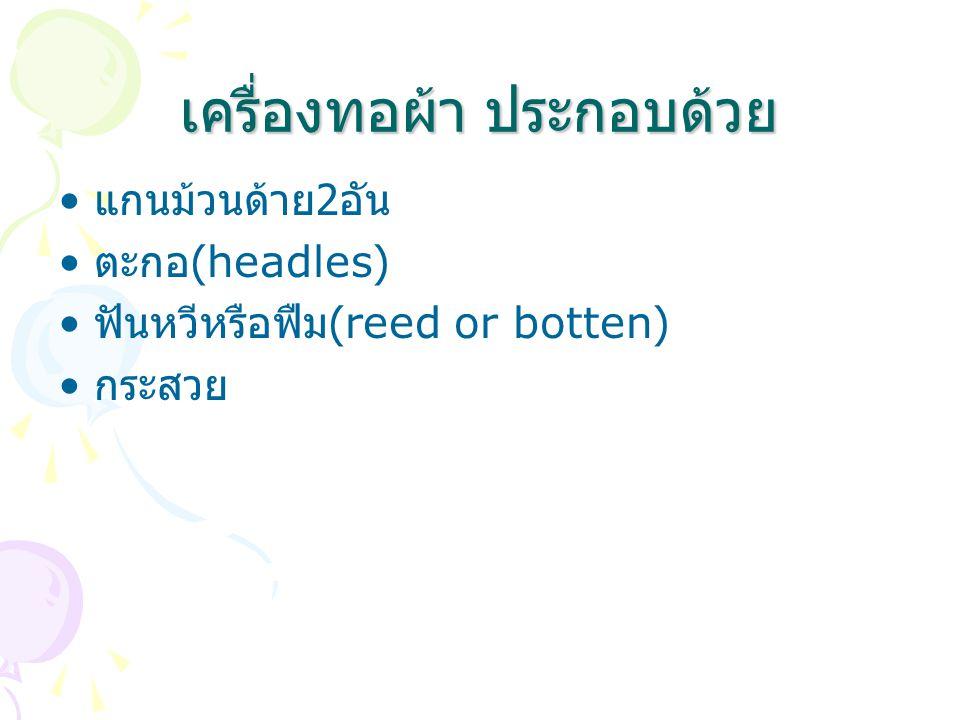 เครื่องทอผ้า ประกอบด้วย แกนม้วนด้าย 2 อัน ตะกอ (headles) ฟันหวีหรือฟืม (reed or botten) กระสวย
