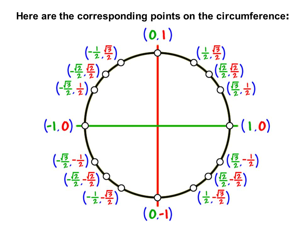 Here are the corresponding points on the circumference: