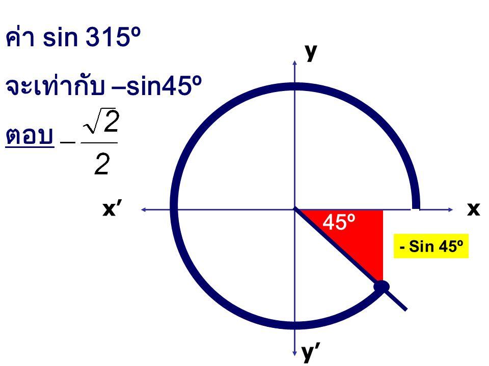 x x' y' y ค่า sin 315º จะเท่ากับ –sin45º ตอบ 45º - Sin 45º
