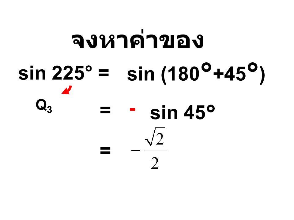 จงหาค่าของ sin 225° = sin (180 ° +45 ° ) Q3Q3 = sin 45° - =