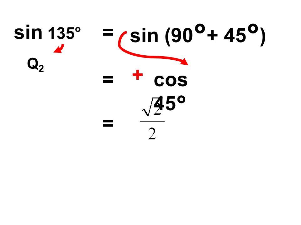 = sin (90 ° + 45 ° ) = + cos 45° Q2Q2 =