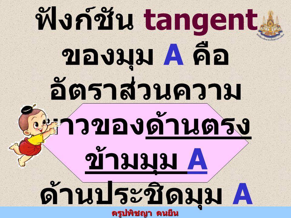 ครูปพิชญา คนยืน ฟังก์ชัน tangent ของมุม A คือ อัตราส่วนความ ยาวของด้านตรง ข้ามมุม A ด้านประชิดมุม A