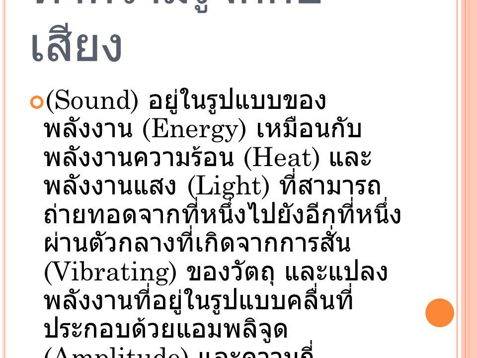 ทำความรู้จักกับ เสียง (Sound) อยู่ในรูปแบบของ พลังงาน (Energy) เหมือนกับ พลังงานความร้อน (Heat) และ พลังงานแสง (Light) ที่สามารถ ถ่ายทอดจากที่หนึ่งไปยังอีกที่หนึ่ง ผ่านตัวกลางที่เกิดจากการสั่น (Vibrating) ของวัตถุ และแปลง พลังงานที่อยู่ในรูปแบบคลื่นที่ ประกอบด้วยแอมพลิจูด (Amplitude) และความถี่ (Frequency) ของคลื่นเสียง