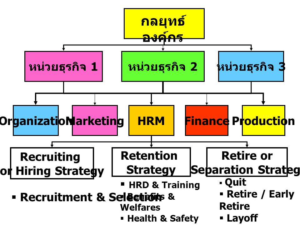 หน่วยธุรกิจ 1 หน่วยธุรกิจ 2 หน่วยธุรกิจ 3 OrganizationMarketingHRMFinanceProduction กลยุทธ์ องค์กร Recruiting or Hiring Strategy Retention Strategy Retire or Separation Strategy  Recruitment & Selection  HRD & Training  Benefits & Welfares  Health & Safety  Performance Management  Quit  Retire / Early Retire  Layoff  Termination