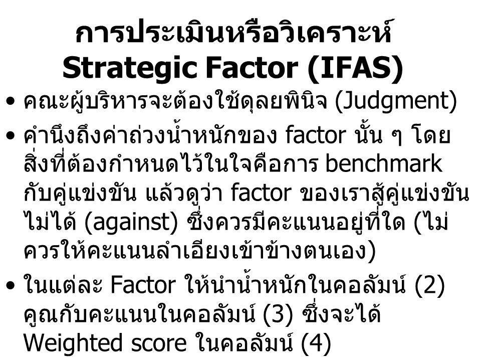 การประเมินหรือวิเคราะห์ Strategic Factor (IFAS) คณะผู้บริหารจะต้องใช้ดุลยพินิจ (Judgment) คำนึงถึงค่าถ่วงน้ำหนักของ factor นั้น ๆ โดย สิ่งที่ต้องกำหนด