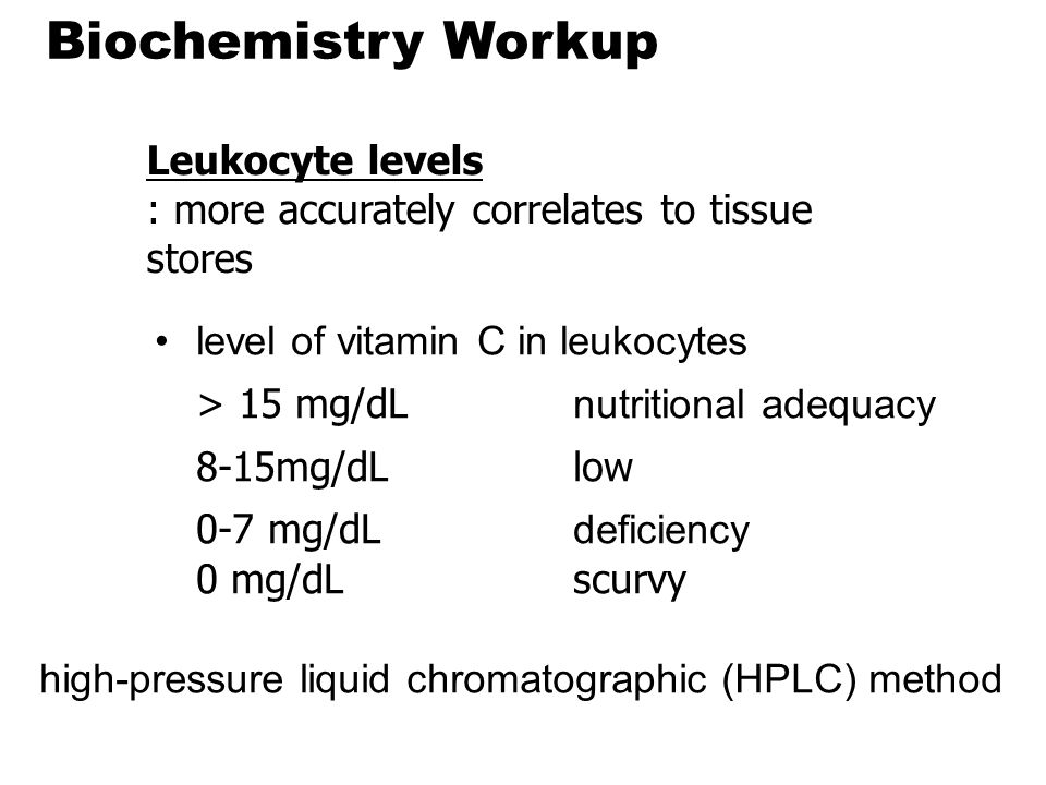 Biochemistry Workup level of vitamin C in leukocytes > 15 mg/dL nutritional adequacy 8-15mg/dLlow 0-7 mg/dL deficiency 0 mg/dL scurvy Leukocyte levels : more accurately correlates to tissue stores high-pressure liquid chromatographic (HPLC) method