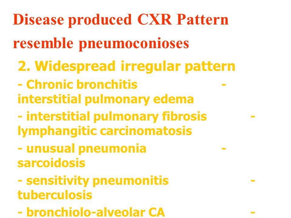 Disease produced CXR Pattern resemble pneumoconioses 3.