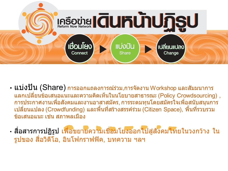 แบ่งปัน (Share) การออกแถลงการณ์ร่วม, การจัดงาน Workshop และสัมมนาการ แลกเปลี่ยนข้อเสนอแนะและความคิดเห็นในนโยบายสาธารณะ (Policy Crowdsourcing), การประก