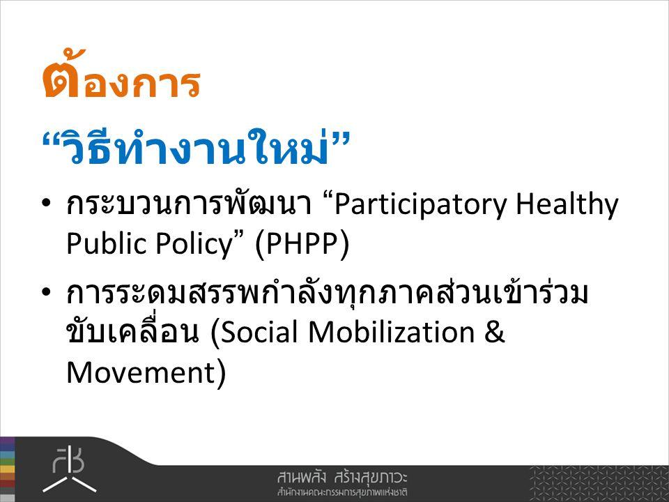 วิธีทำงานใหม่ กระบวนการพัฒนา Participatory Healthy Public Policy (PHPP) การระดมสรรพกำลังทุกภาคส่วนเข้าร่วม ขับเคลื่อน (Social Mobilization & Movement)